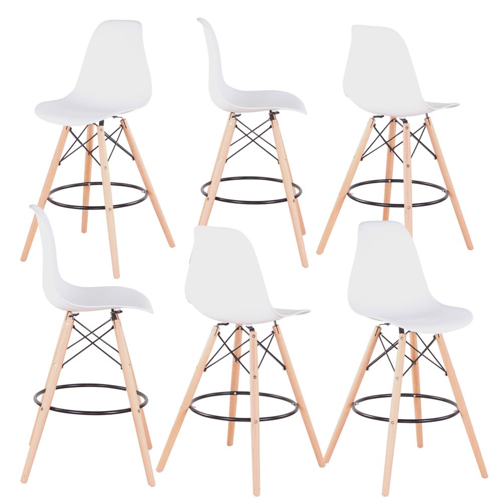 Set 6 buc scaun de bar, alb/fag, CARBRY 2 NEW 1