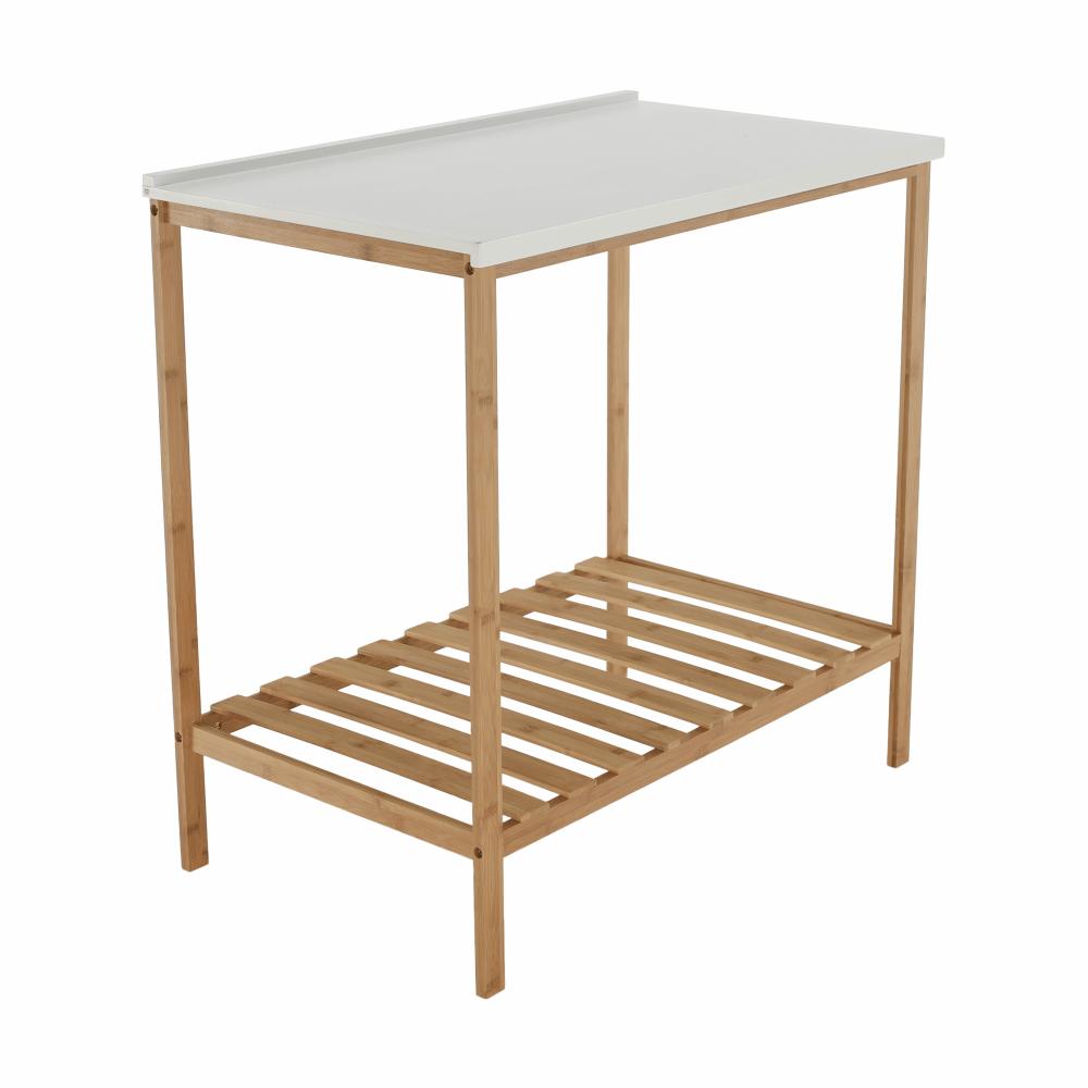 Stůl s policí, přírodní / bílá, SELENE TYP 5