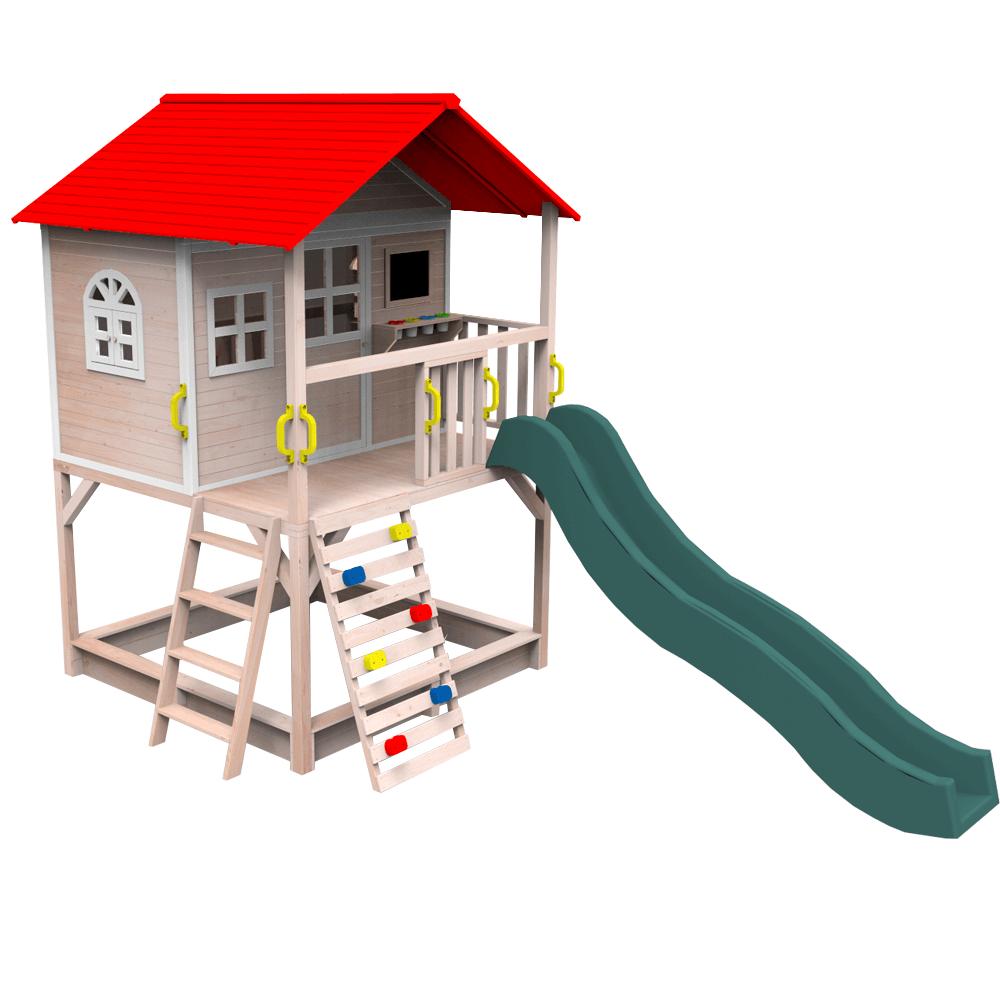 Fából készült kerti ház csúszdával, homokozóval és mászófallal, OMAH