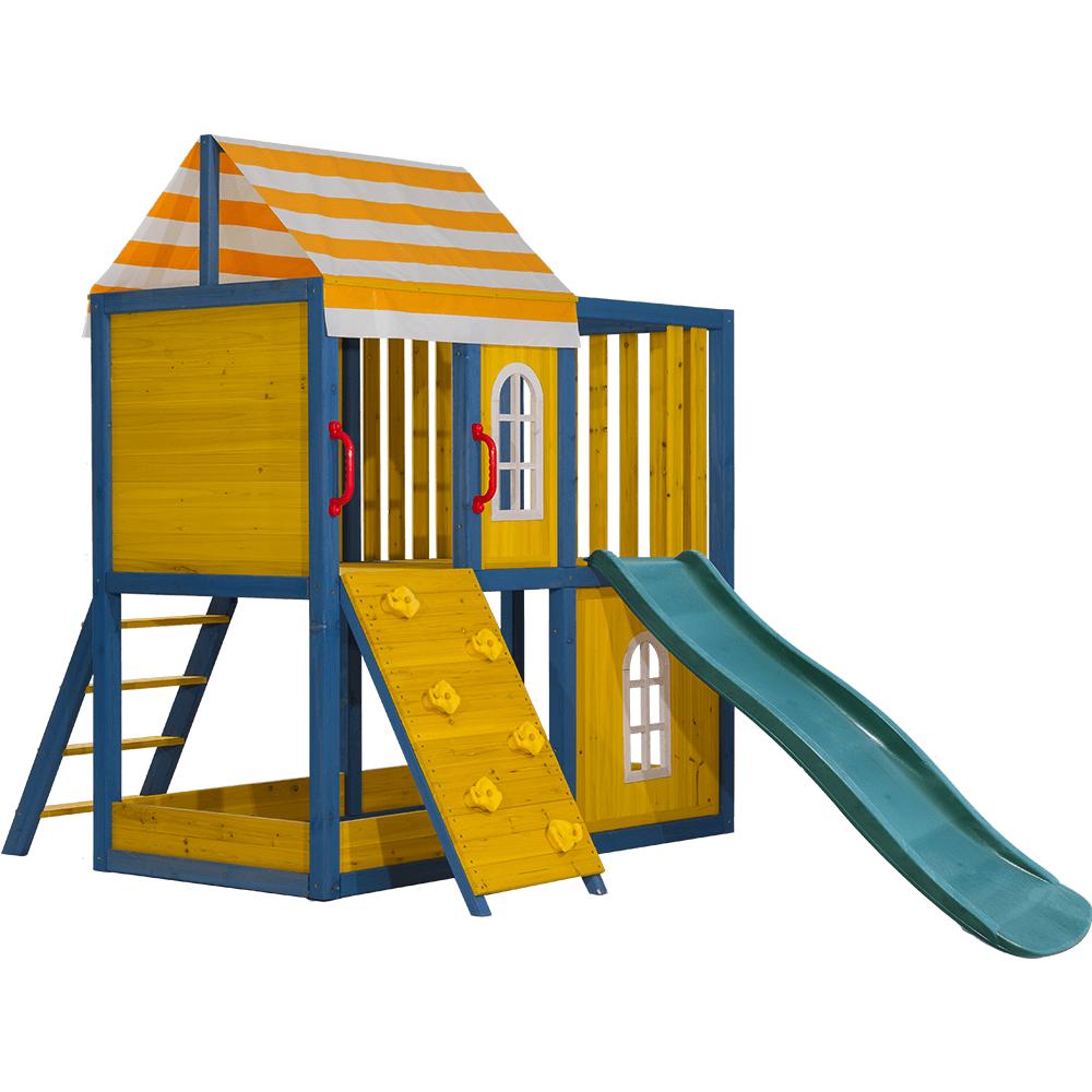 Dřevěný zahradní domek / zahradní hřiště pro děti se skluzavkou a lezeckou stěnou, MANAS