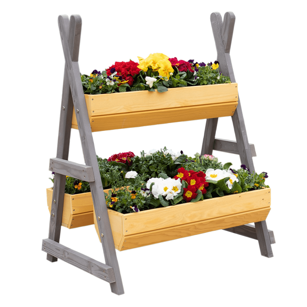Fából készült virágállvány, természetes/szürke, BERON