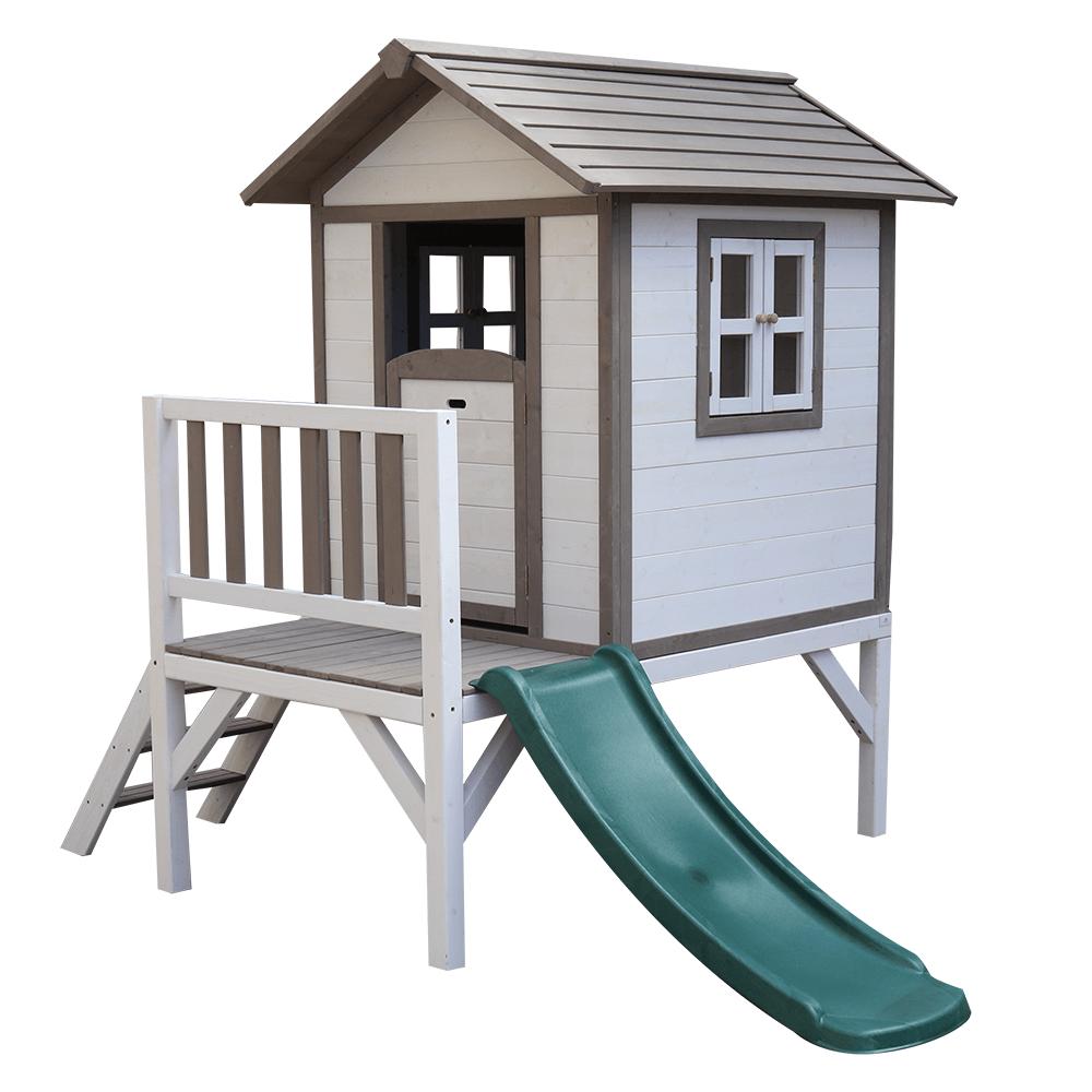 Fából készült kerti ház gyerekeknek csúszdával, szürke/fehér, MAILEN