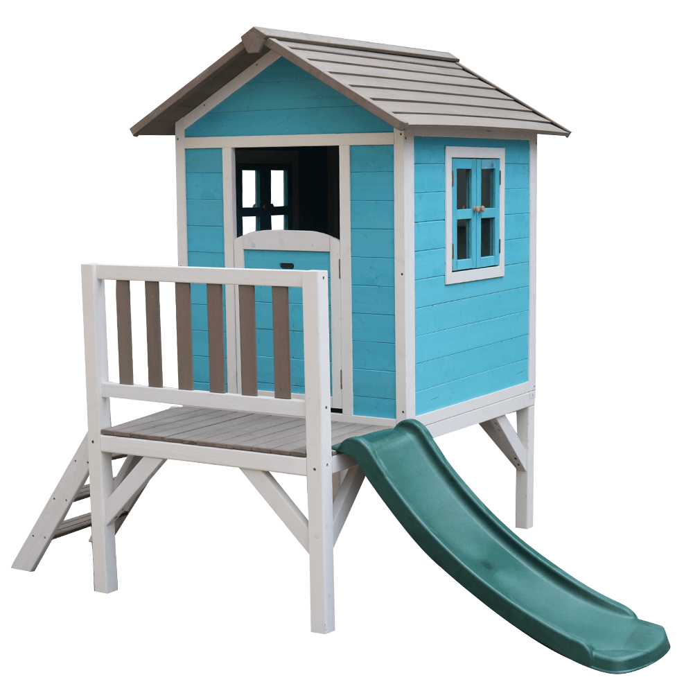 Drevený záhradný domček pre deti so šmykľavkou, modrá/sivá/biela, MAILEN