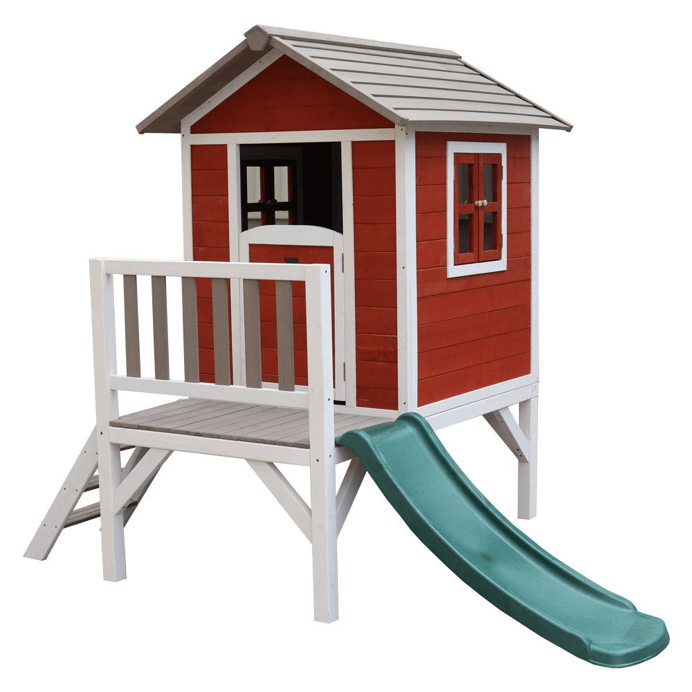 Dřevěný zahradní domeček pro děti se skluzavkou, červená / šedá / bílá, MAILEN