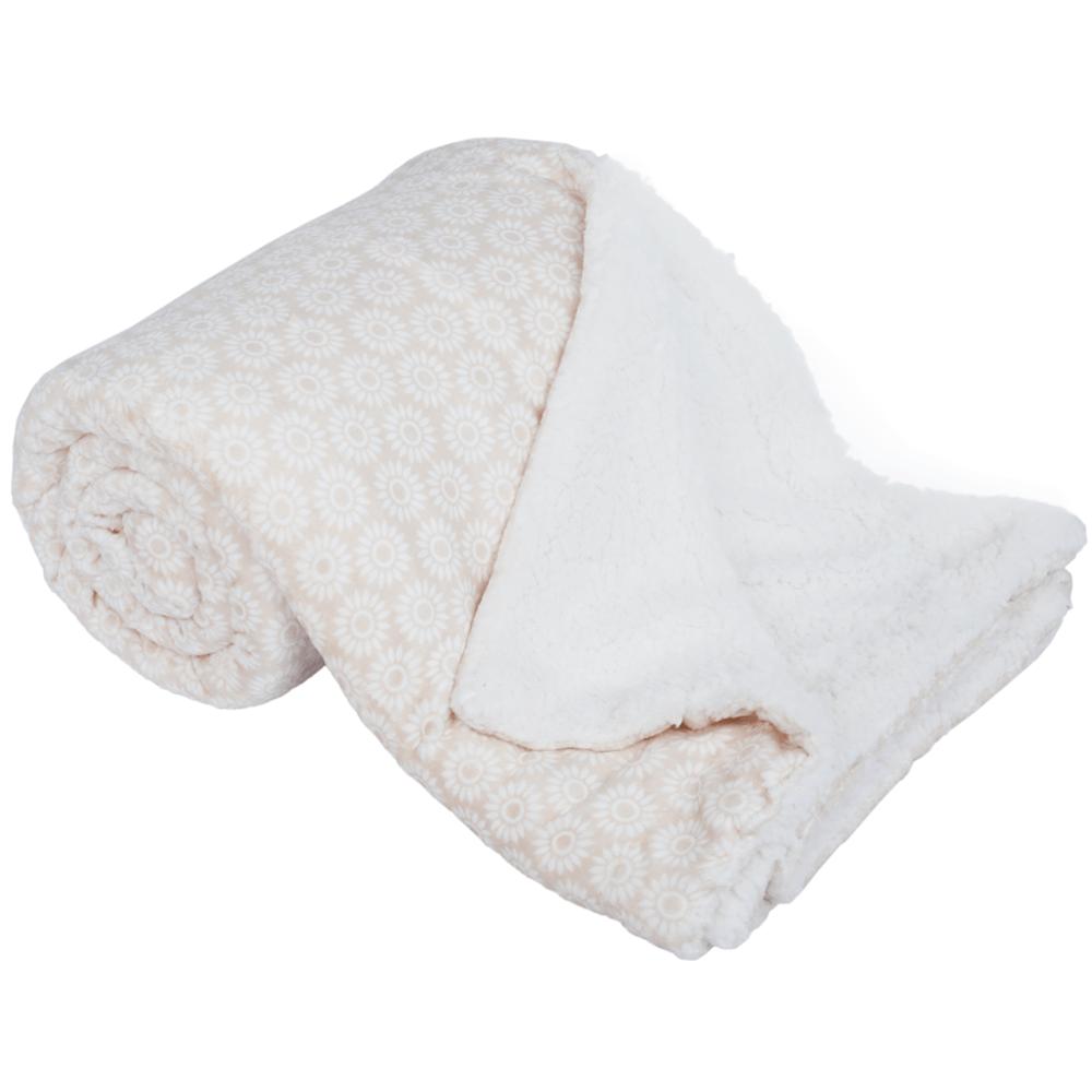 Pătură cu două fețe imitație miel, bej/alb/model, 150x200, AVANTI