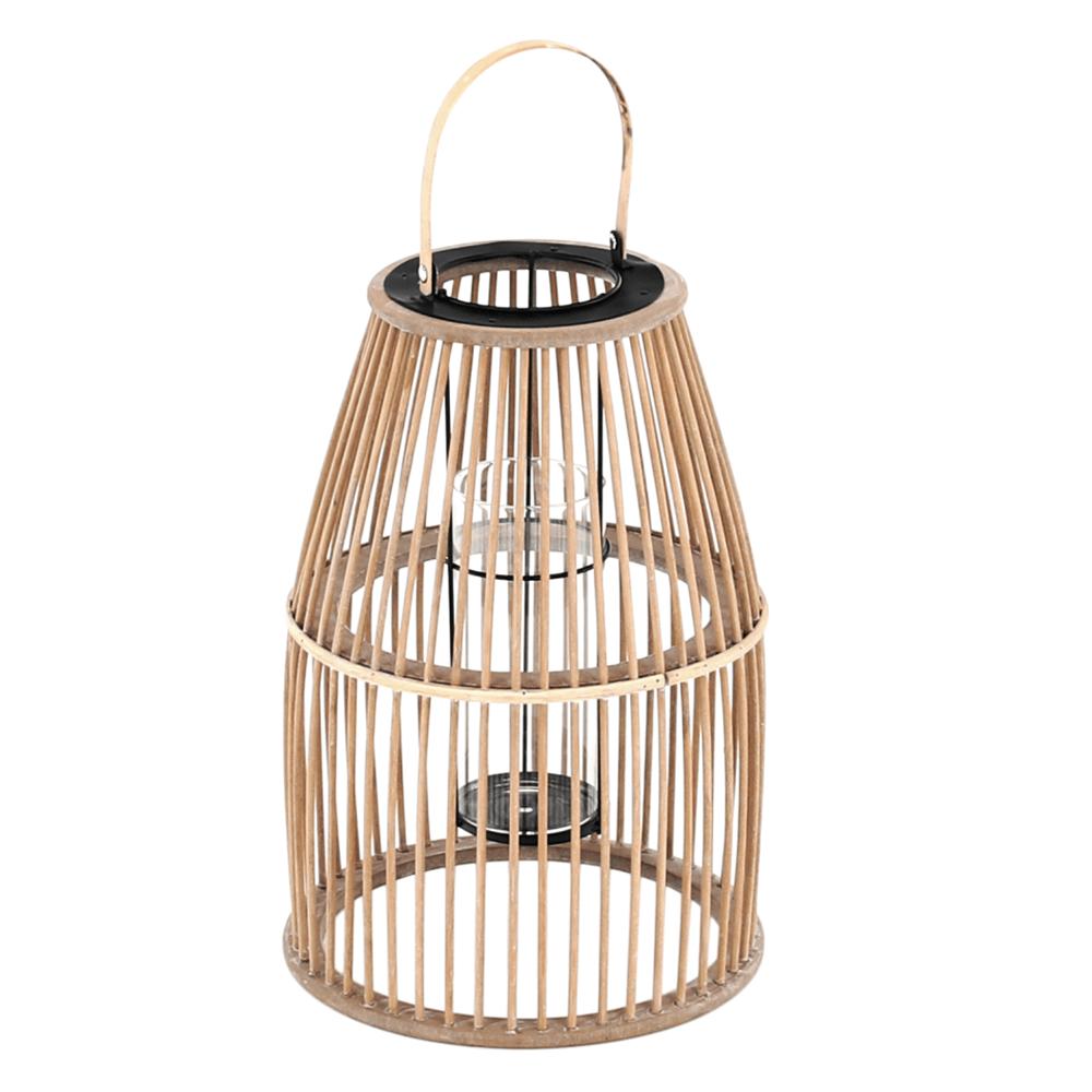 Gyertyatartó lámpás, természetes bambusz, MILES TYP 2