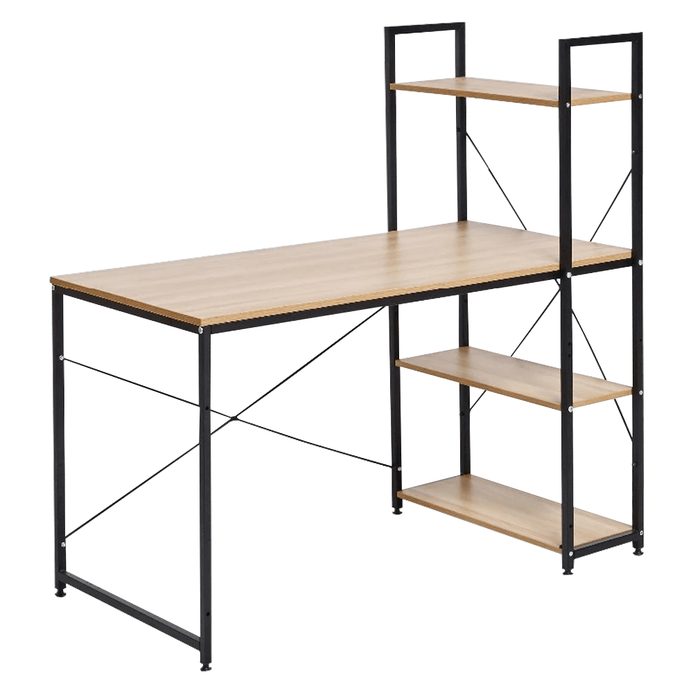 Számítógépasztal, tölgy/fekete, VEINA