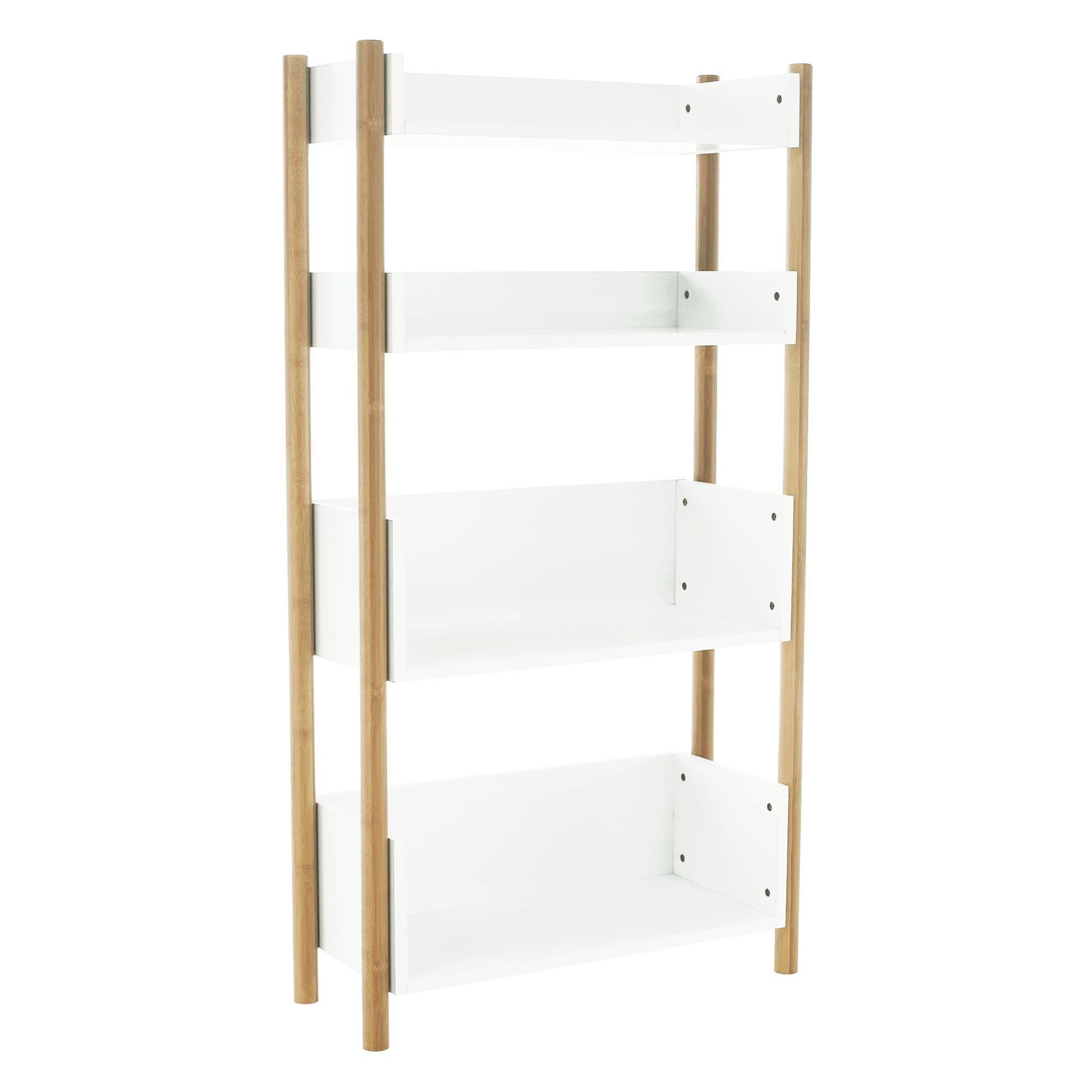 Etajeră cu 4 rafturi, bambus natural / alb, BALTIKA TYPE 3