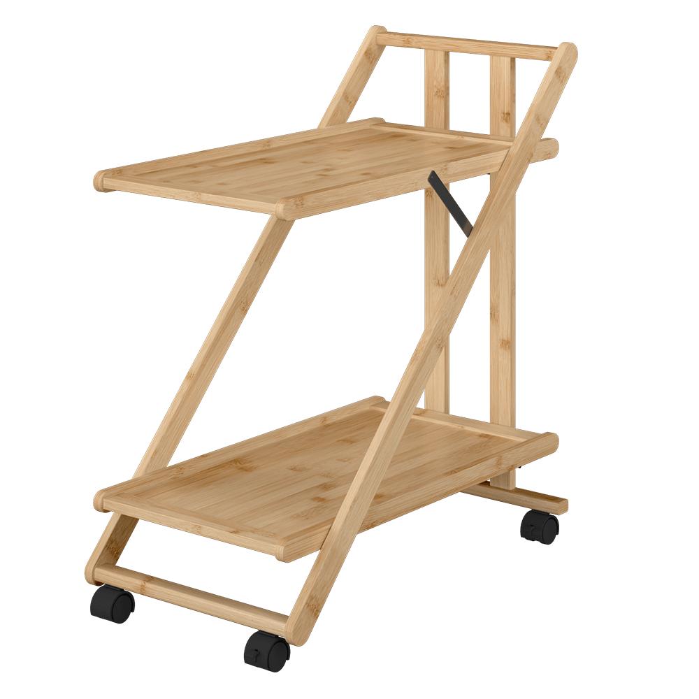 Skladací servírovací vozík, lakovaný bambus, SELVE