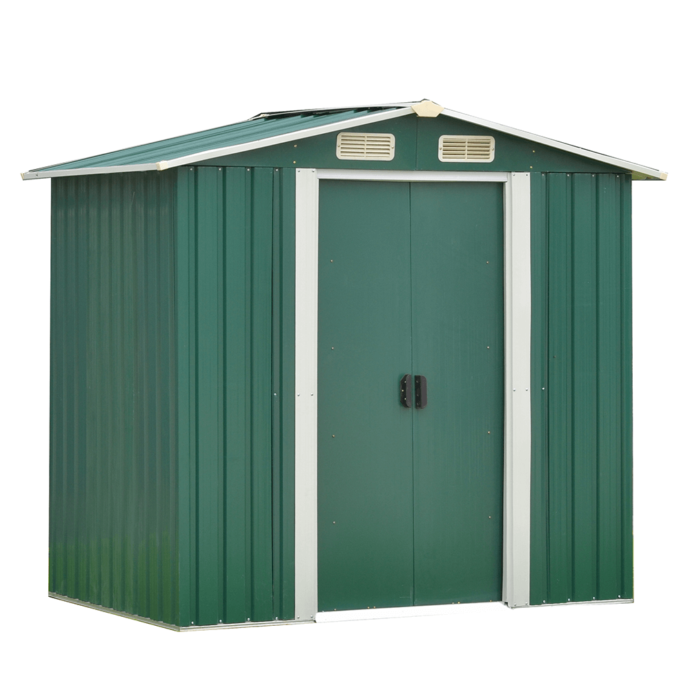 Plechový záhradný domček na náradie, zelená/biela, 2x1, 3m, HAMAL TYP 1
