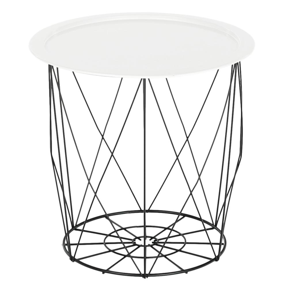 Príručný stolík, biela/čierna, SALERO