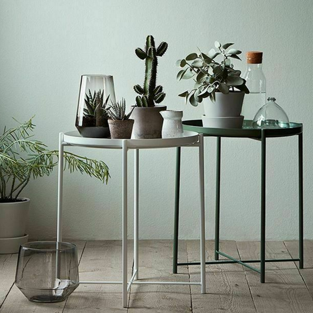 Příruční stolek s odnímatelnou tácem, bílá, TRIDER