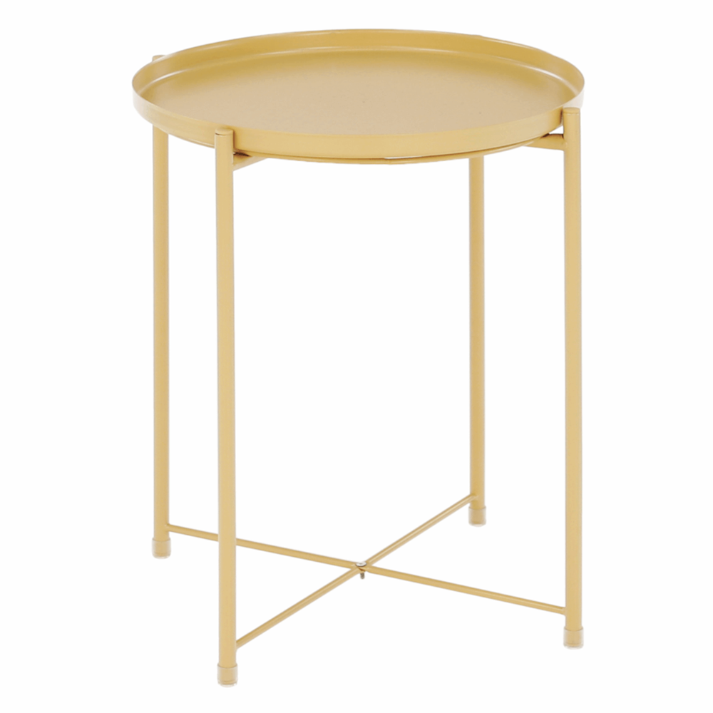 Príručný stolík s odnímateľnou táckou, žltá, TRIDER