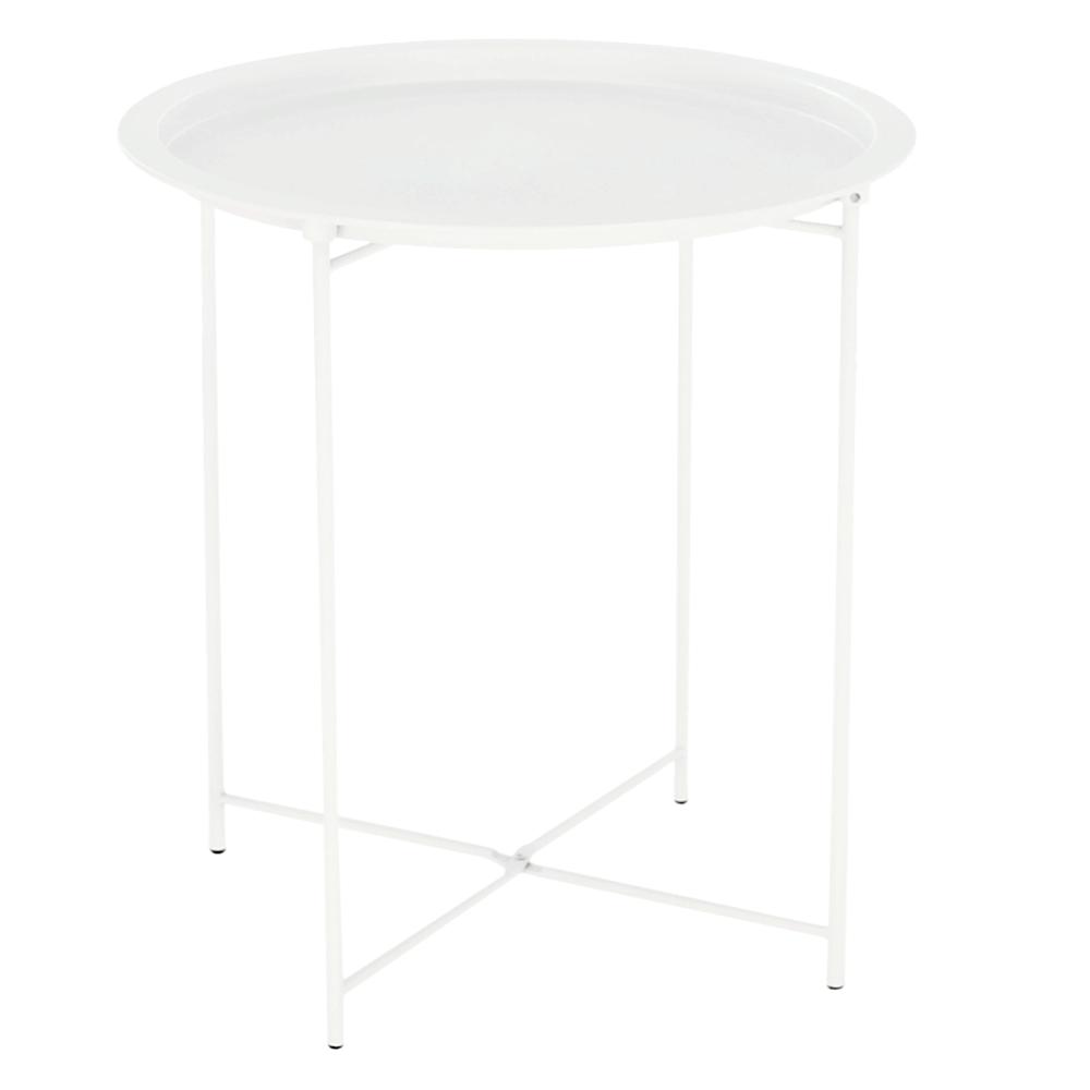 Príručný stolík s odnímateľnou táckou, biela, RENDER