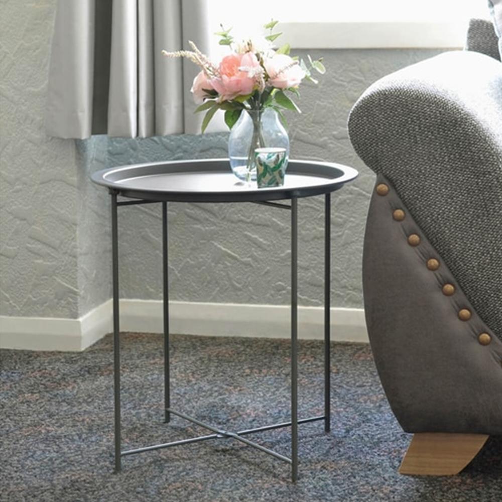 Příruční stolek s odnímatelnou tácem, šedozelená, RENDER