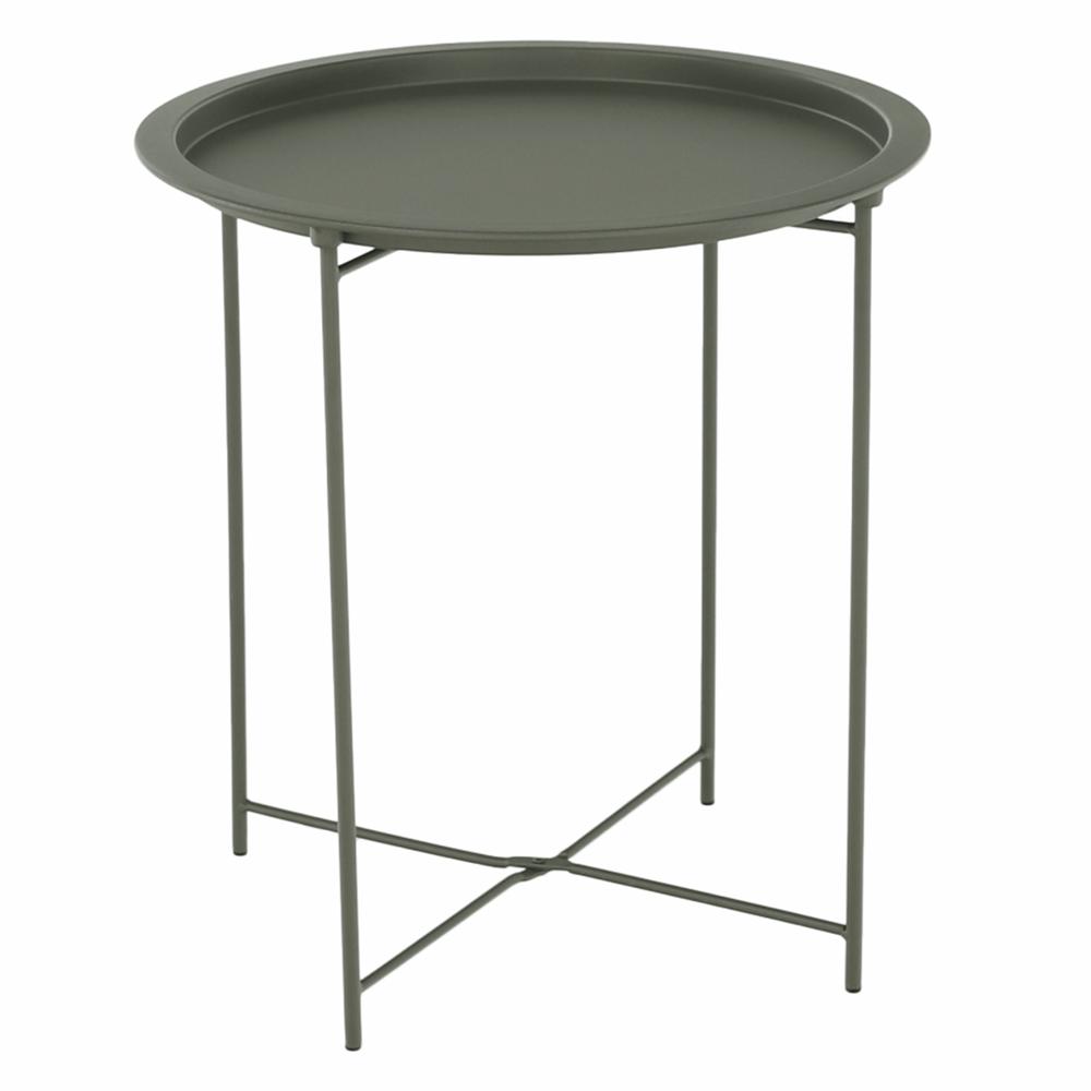 Príručný stolík s odnímateľnou táckou, sivozelená, RENDER