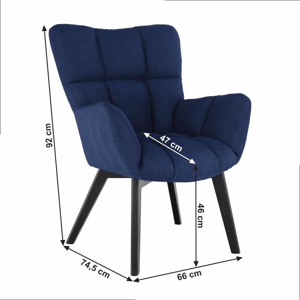 Designové křeslo, modrá / černá, FONDAR