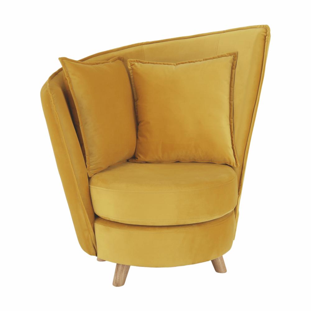 Fotel Art Deco stílusban, mustárszínű Velvet anyag/tölgy, ROUND