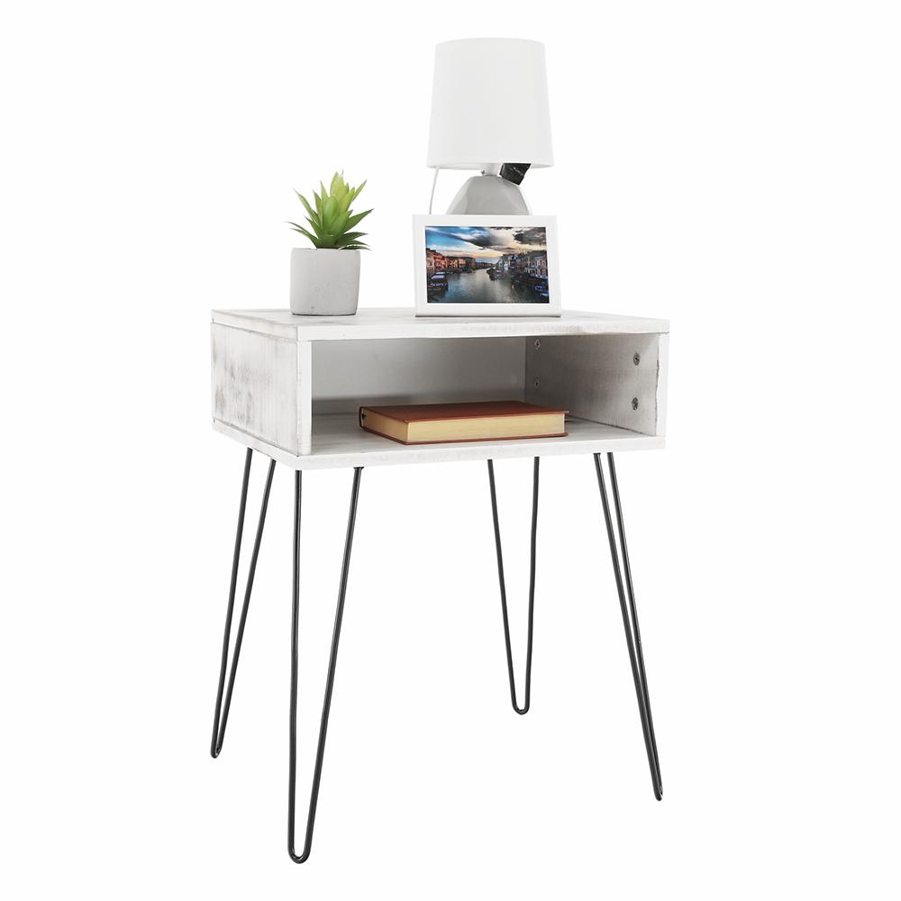 Příruční/noční stolek, bílá vintage/černá, HONEJ, TEMPO KONDELA