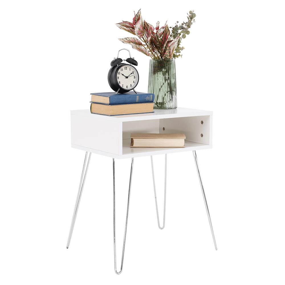 Príručný/nočný stolík, biela/chróm, LAMAJ