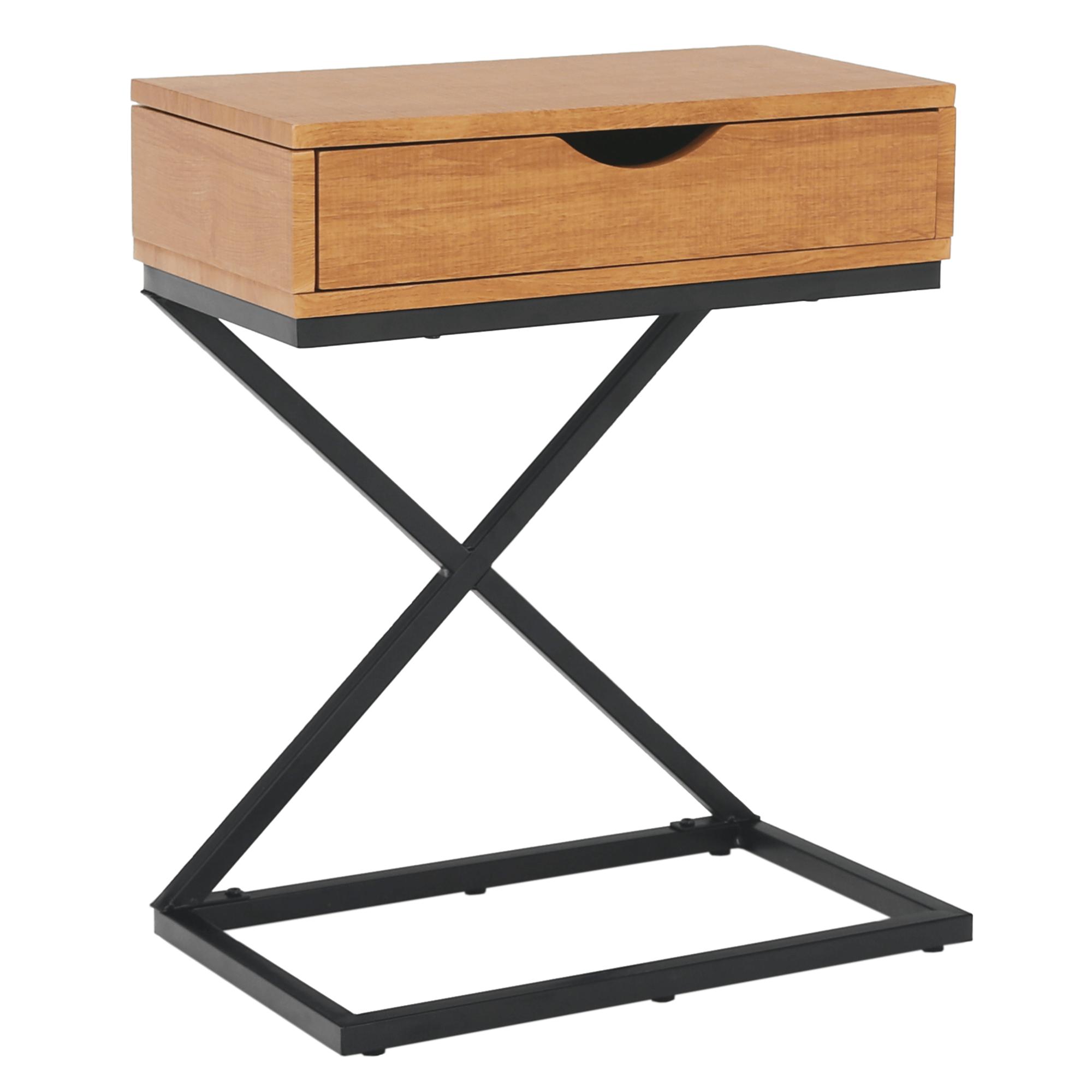 Príručný/nočný stolík, dub/čierna, VIRED