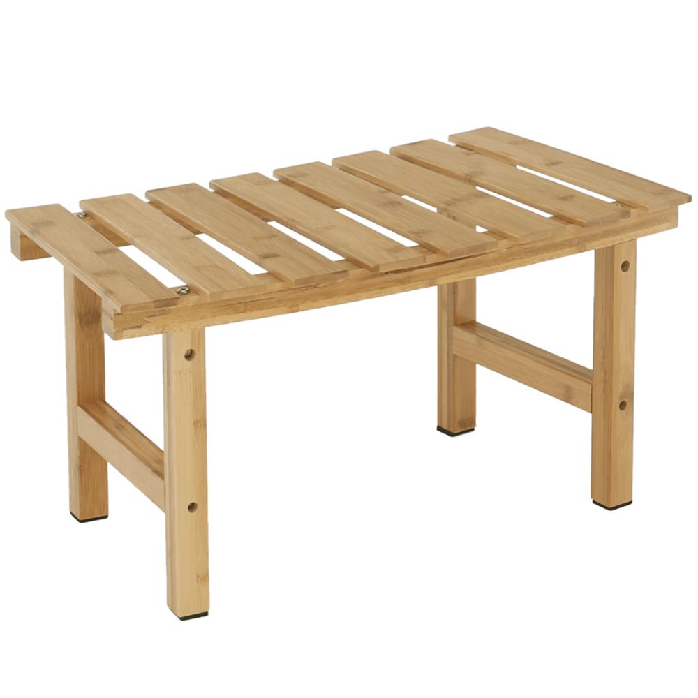 Măsuţă auxiliară pentru jacuzzi în formă arcuită, bambus natural, VIREO TYP 3