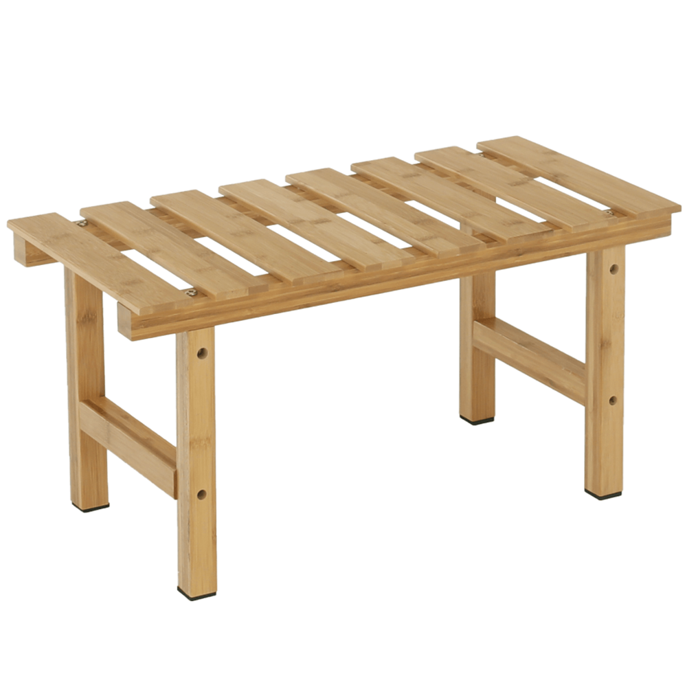 Măsuţă auxiliară pentru jacuzzi în formă dreptunghiulară, bambus natural, VIREO TYP 4