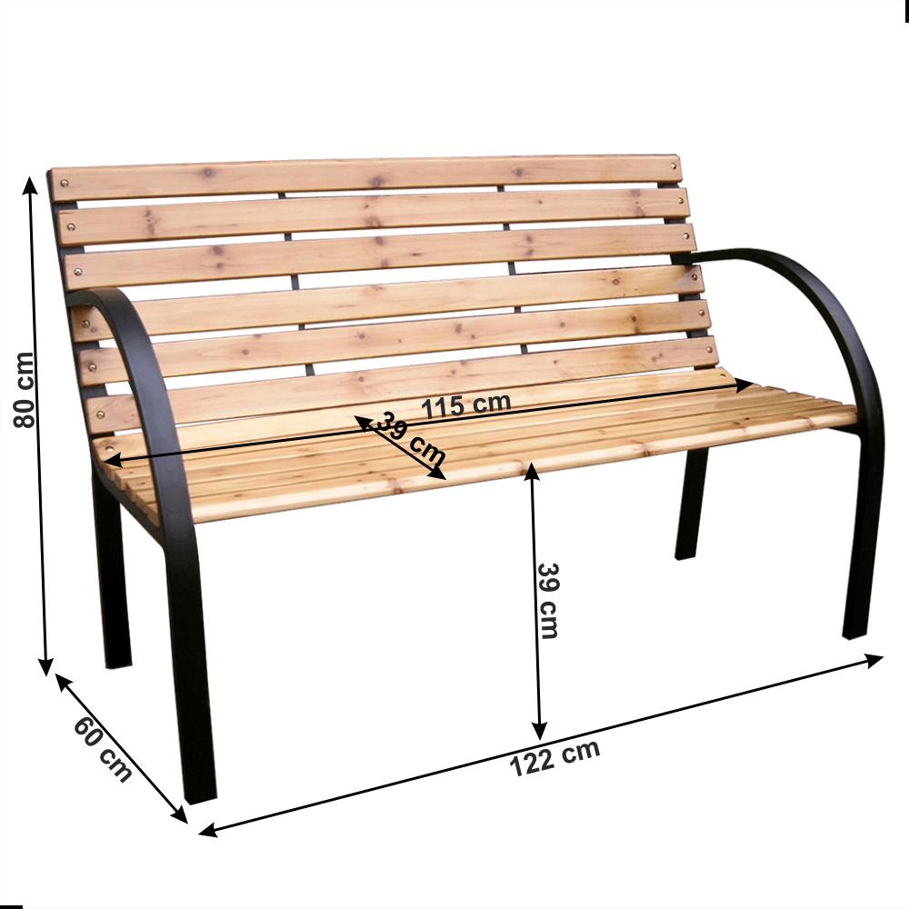 Zahradní lavička, černá/přírodní, LACEA