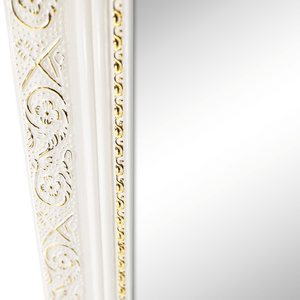 Stojanové zrcadlo, bílá/bílo zlatý ornament, LAVAL