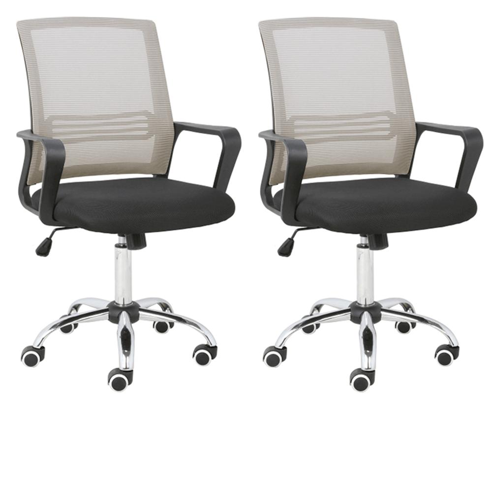 2 kusy, kancelárska stolička, sieťovina sivohnedá TAUPE/látka čierna, APOLO