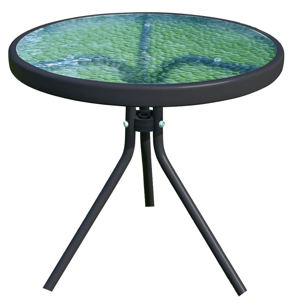 Záhradný konferenčný stolík, čiena oceľ/tvrdené sklo, HABIR