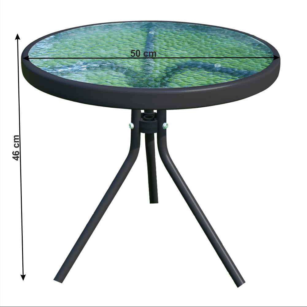 Zahradní konferenční stolek, cen oceli / tvrzené sklo, HABIR