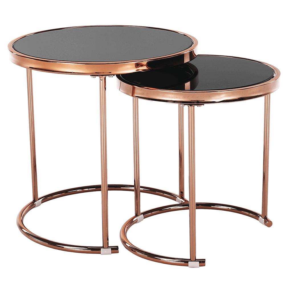 Set 2 konferenčných stolíkov, rose gold chróm ružová/čierna, MORINO