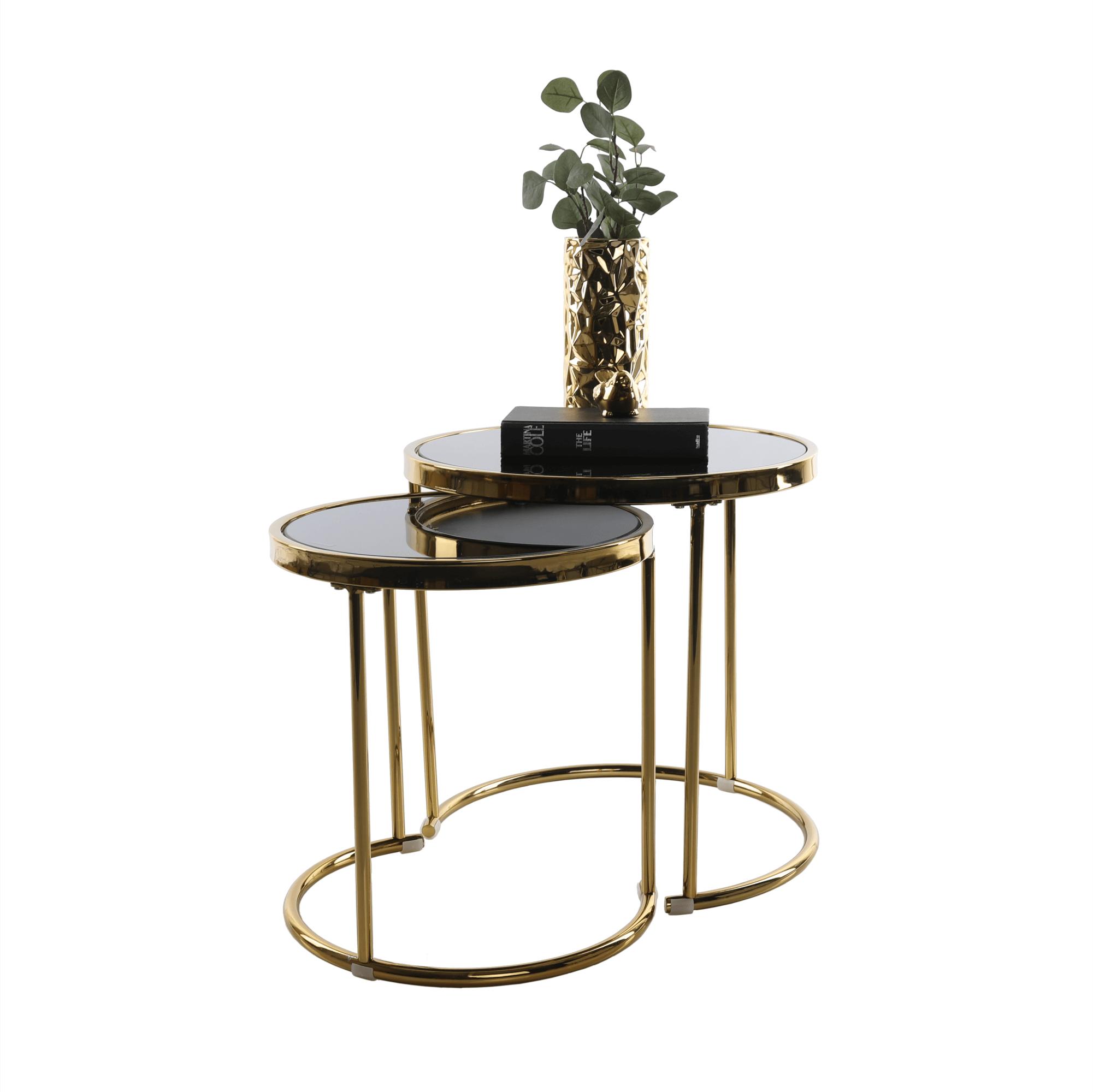 Konferenčné stolíky, set 2 ks, gold chróm zlatá/čierna, MORINO