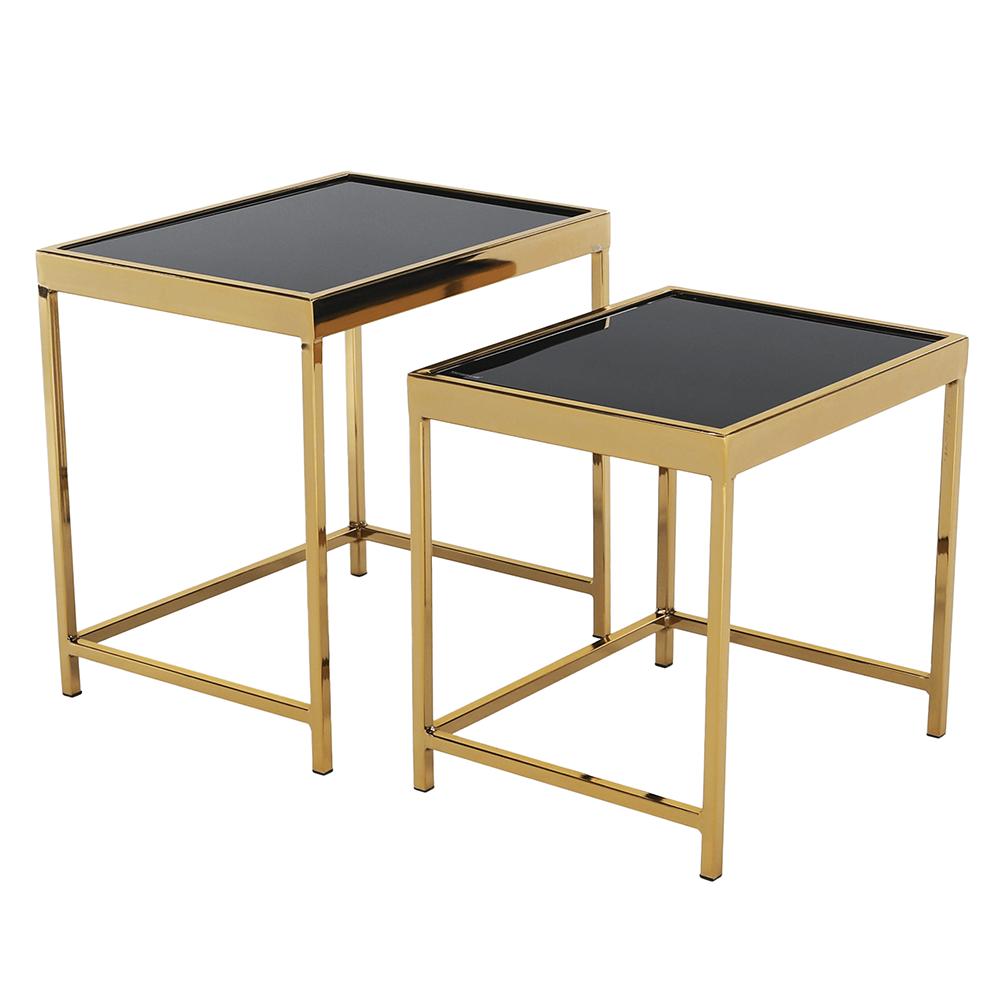 Konferenčné stolíky, set 2 ks, gold chróm zlatá/čierna, VITOR