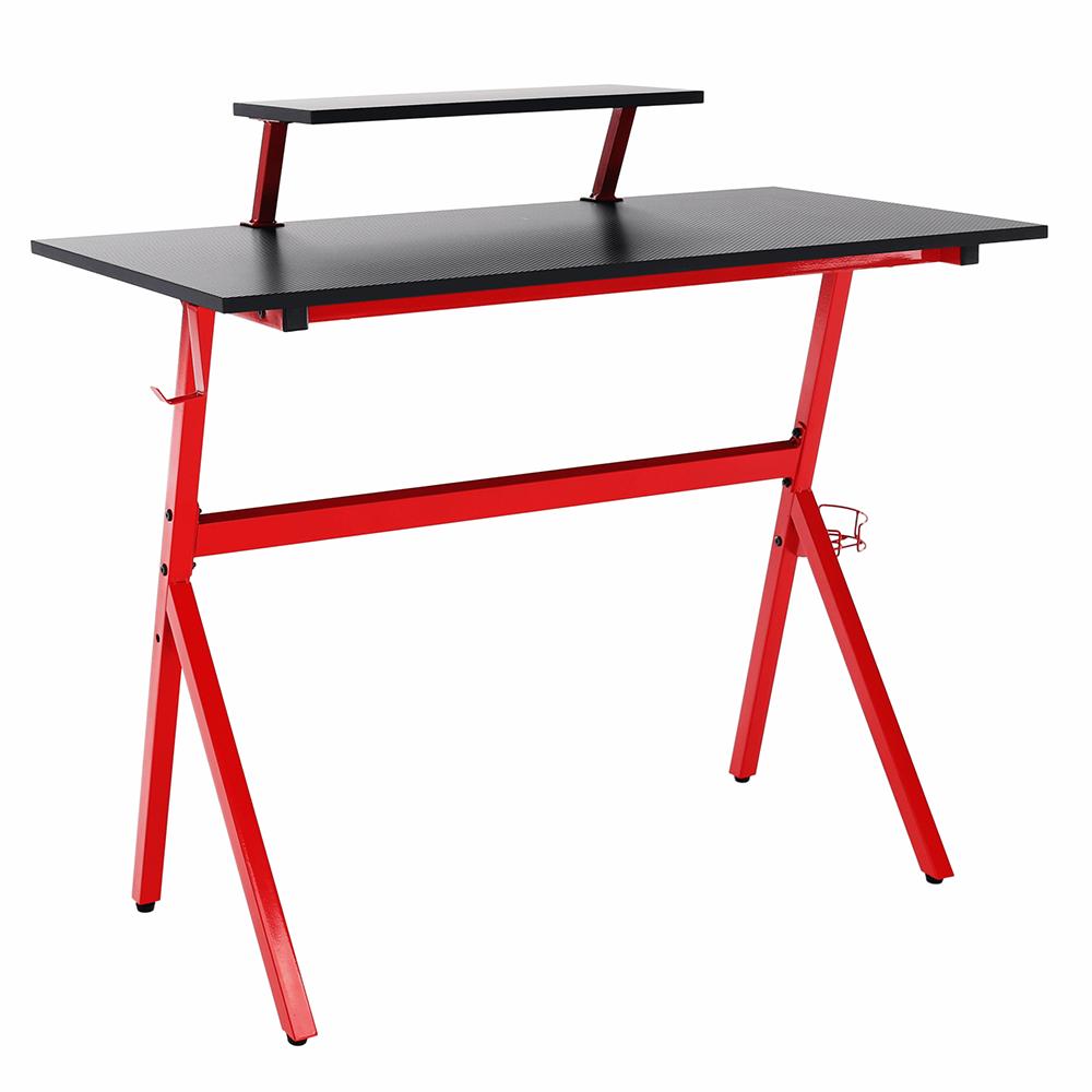 PC stôl/herný stôl, červená/čierna, LATIF