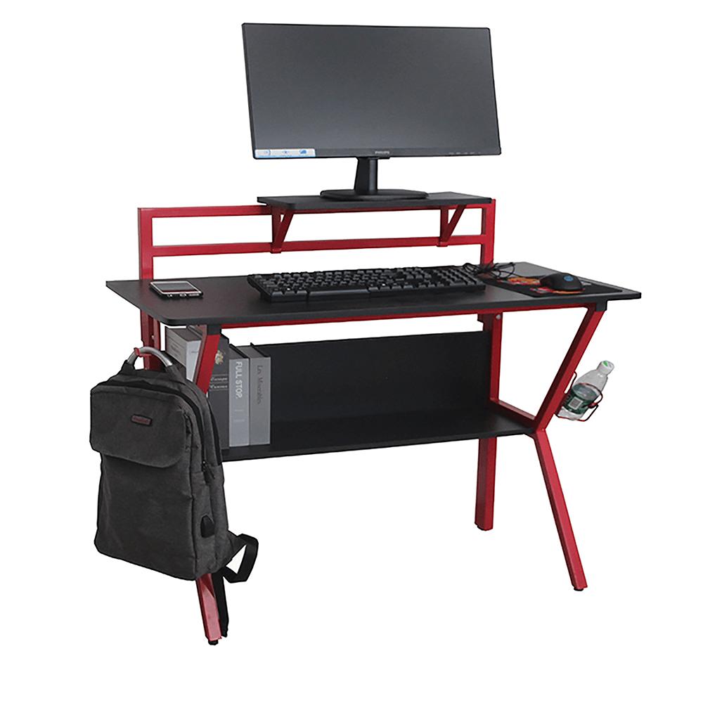 PC stůl / herní stůl, červená / čierna, TABER, TEMPO KONDELA