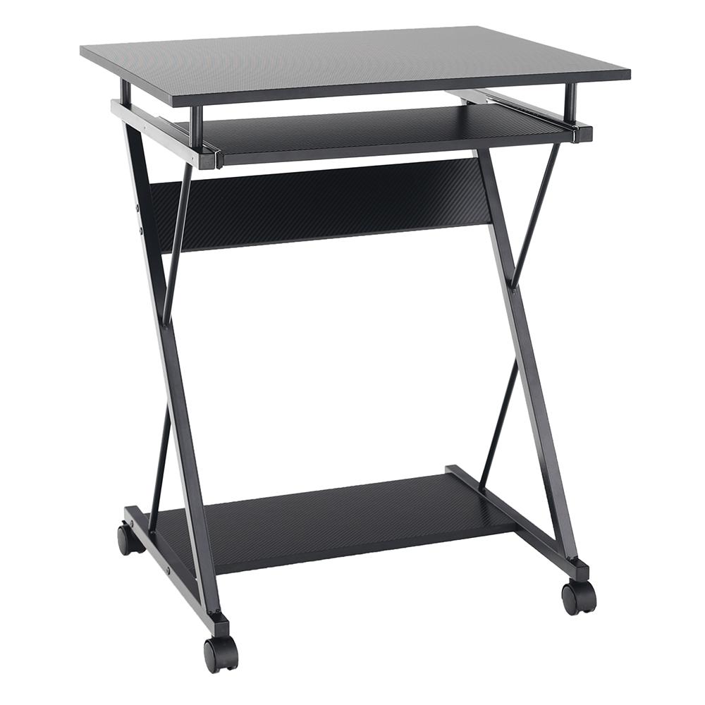 Pojazdný PC stôl/herný stôl s kolieskami, čierna, TARAK