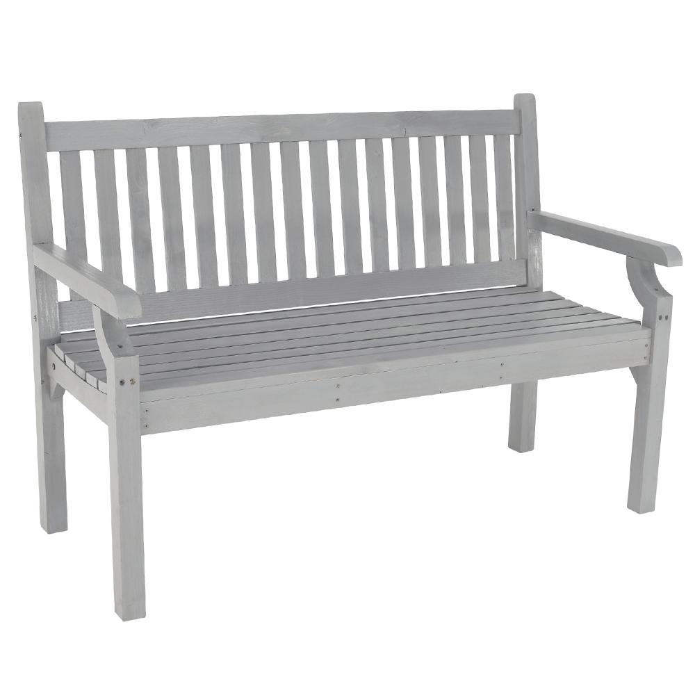 Drevená záhradná lavička, sivá, 124 cm, KOLNA