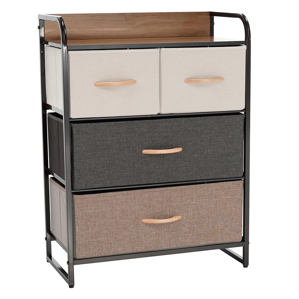 Comodă cu sertare din material textil, negru/bej/maro deschis/maro închis, HAZEL TYP 2