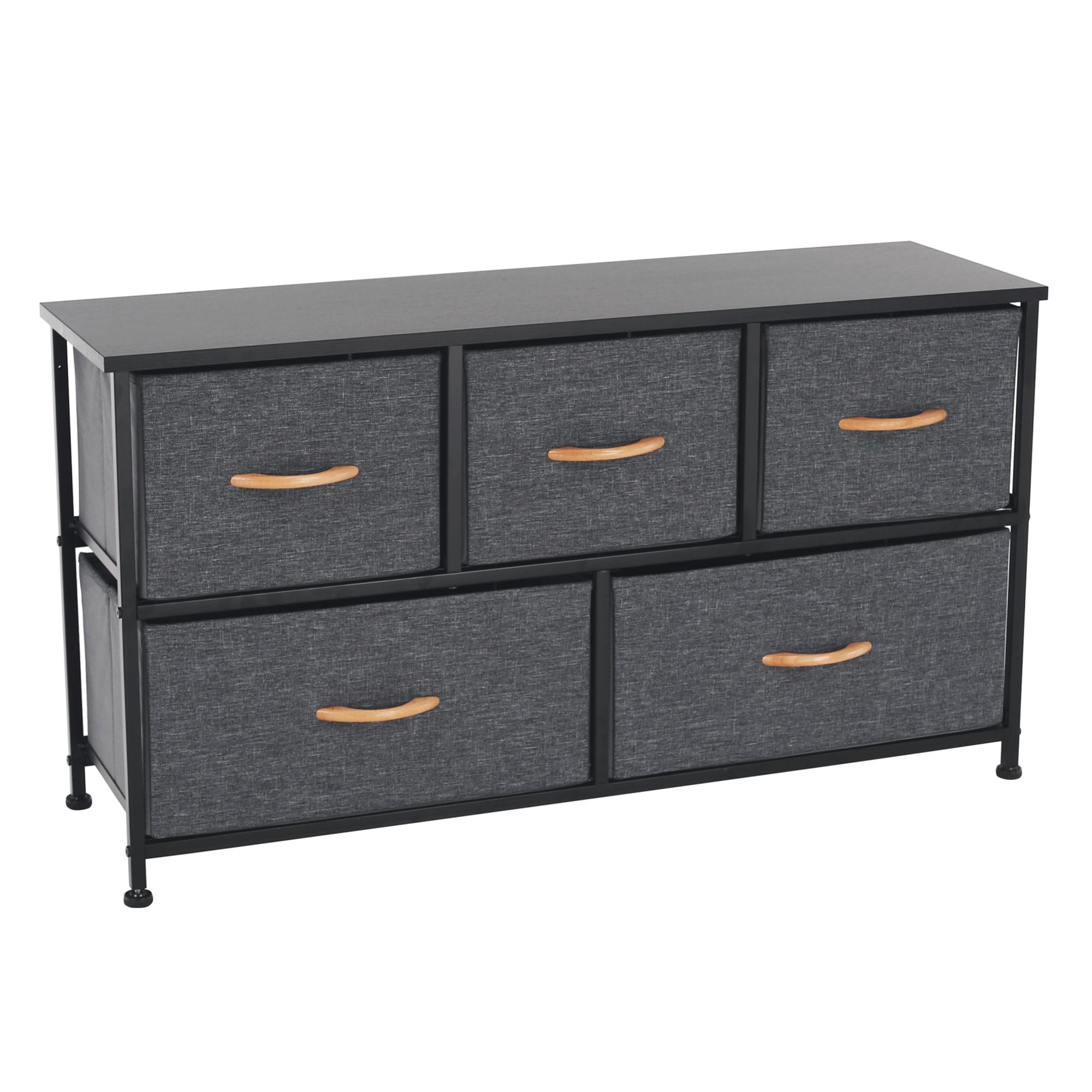 Comodă cu sertare din material textil, negru/gri închis, PALMERA TYP 3