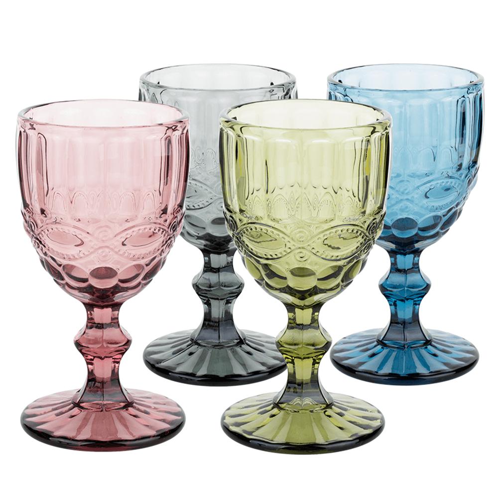 Farebné vintage poháre na víno, 4ks, 240ml, SAVOY TYP 3