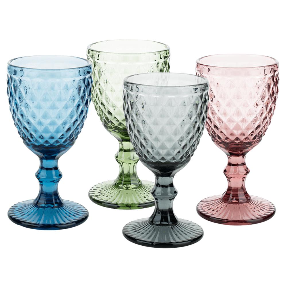 Farebné retro poháre na víno, 4ks, 240ml, VERITAS TYP 3