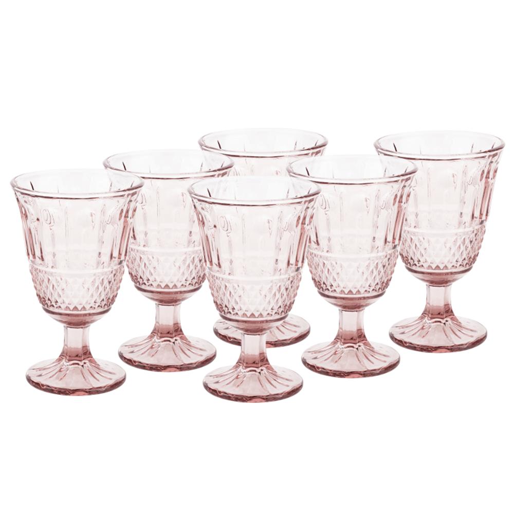 Vintage sklené poháre na víno, 6ks, 220ml, ružová, LEGACY