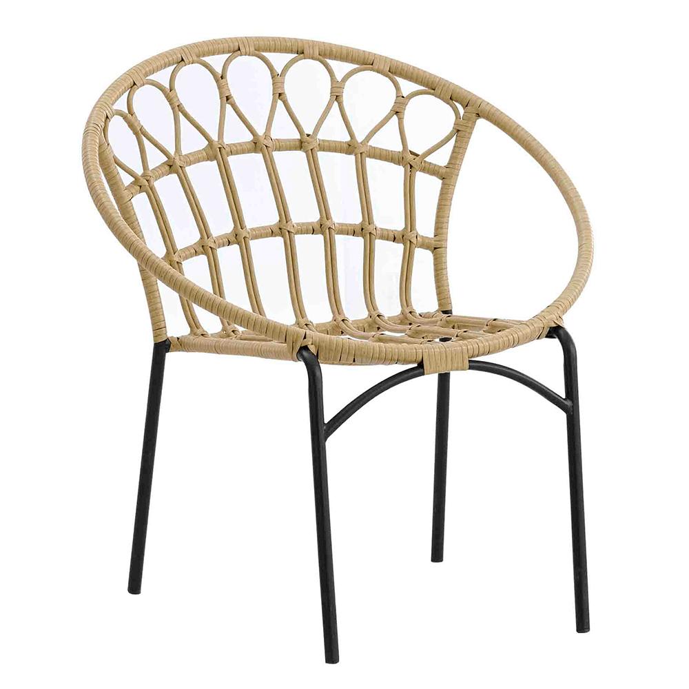 Záhradná stolička, prírodná/čierna, ELDIA