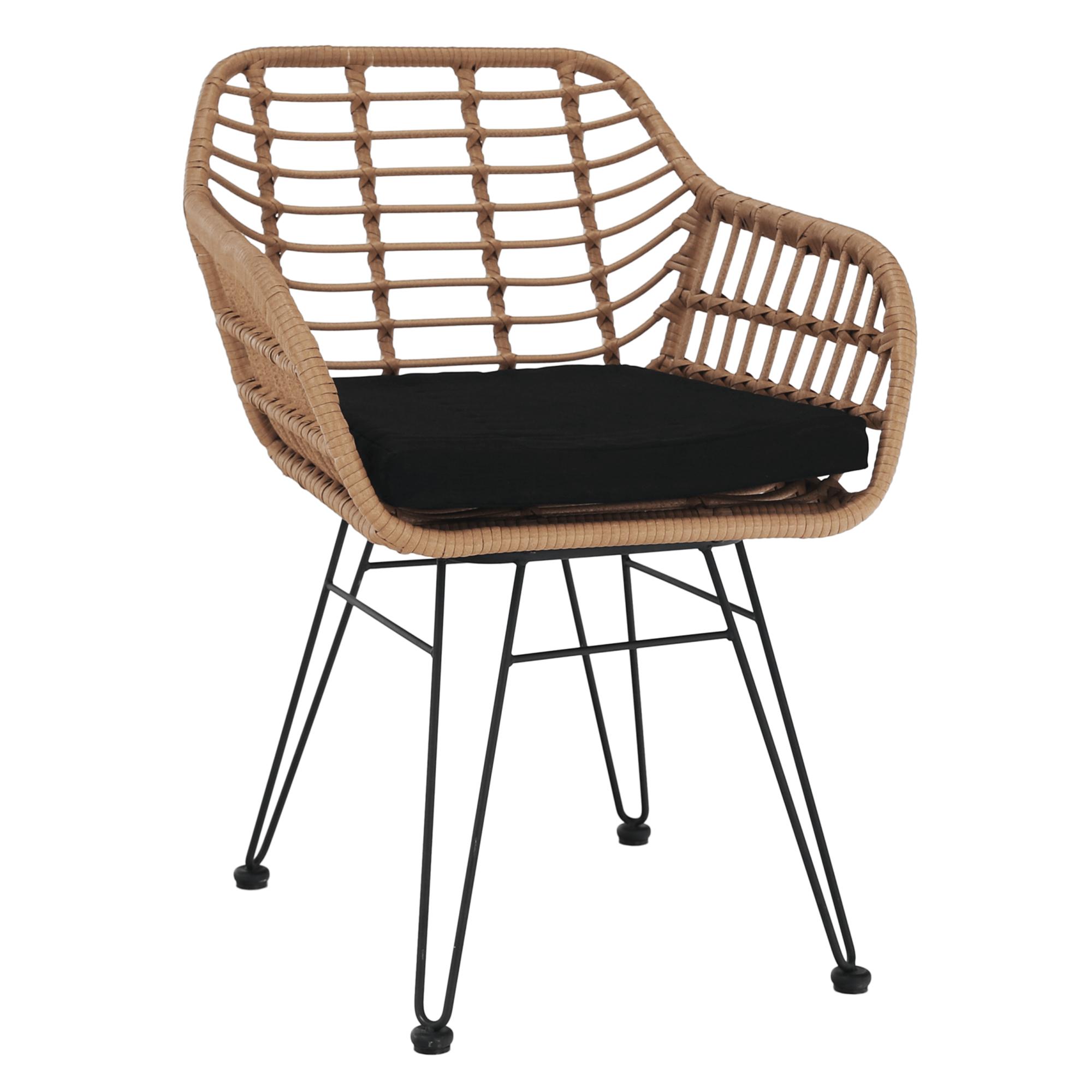 Kerti szék, természetes/fekete, VALIN