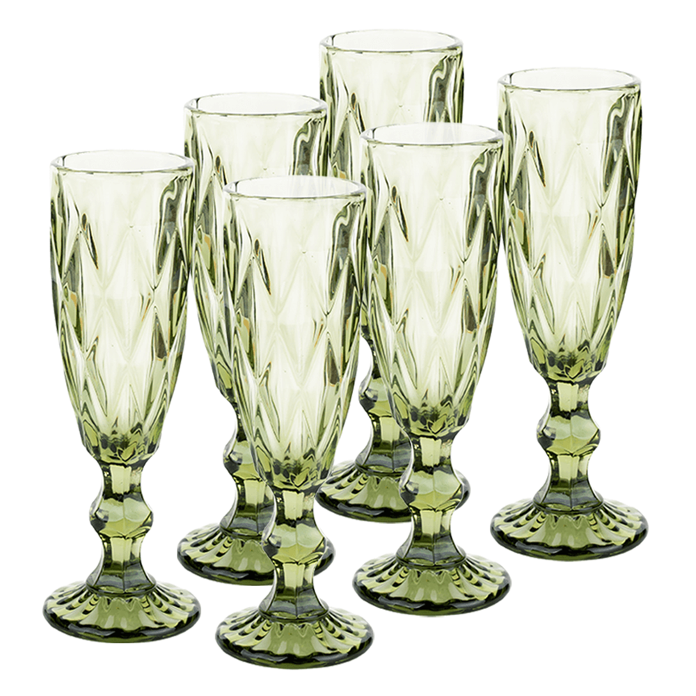 Set de pahare de şampanie, 6buc, 150 ml, verde, BAROLO TYPE 4