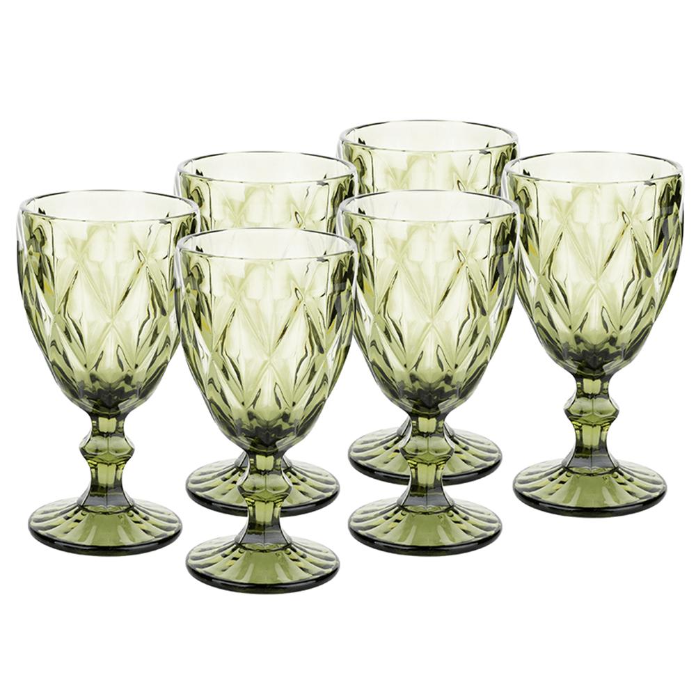 Retro sklené poháre na víno, 6ks, 300ml, zelená, BAROLO TYP 3