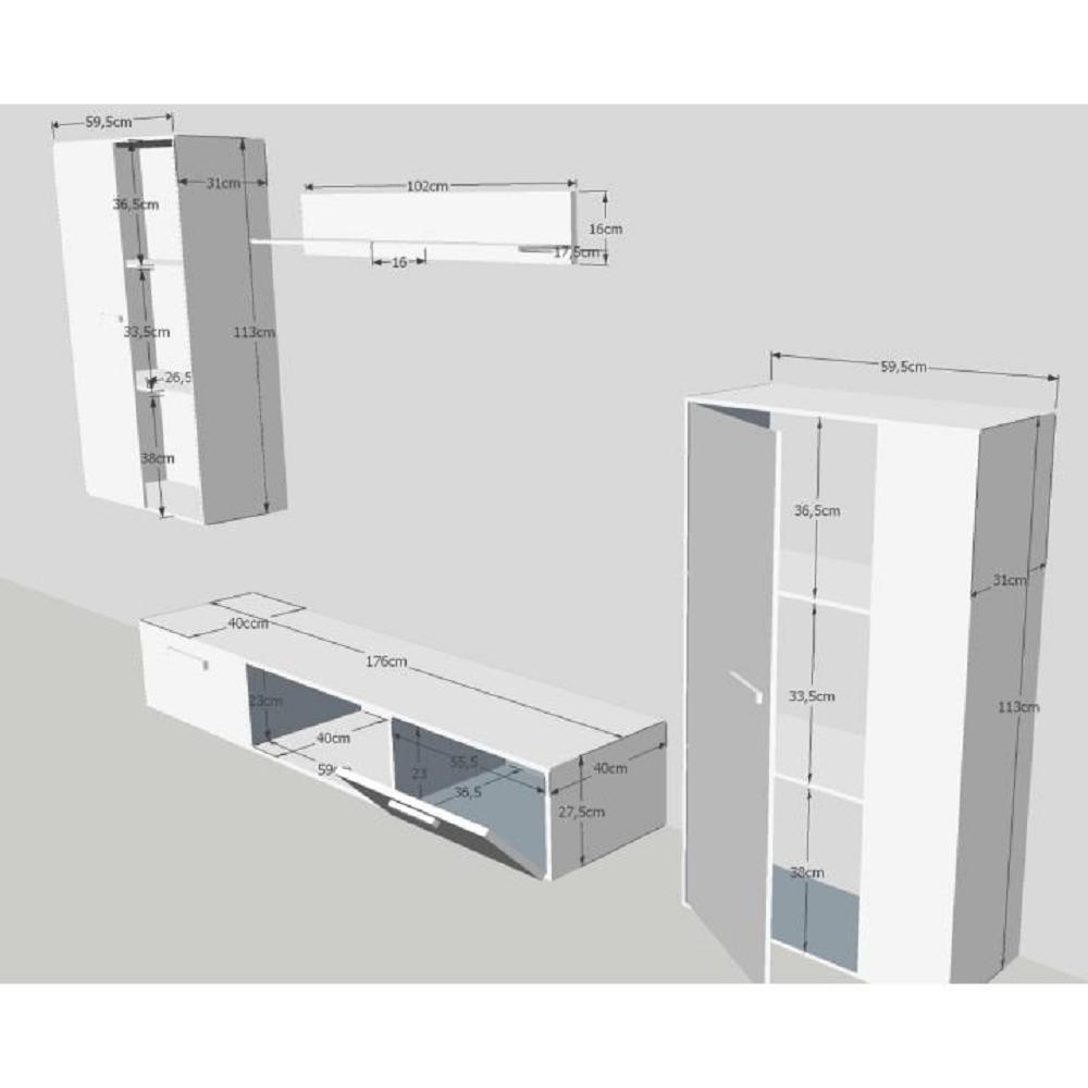 Obývací stěna, dub sonoma, SALESA