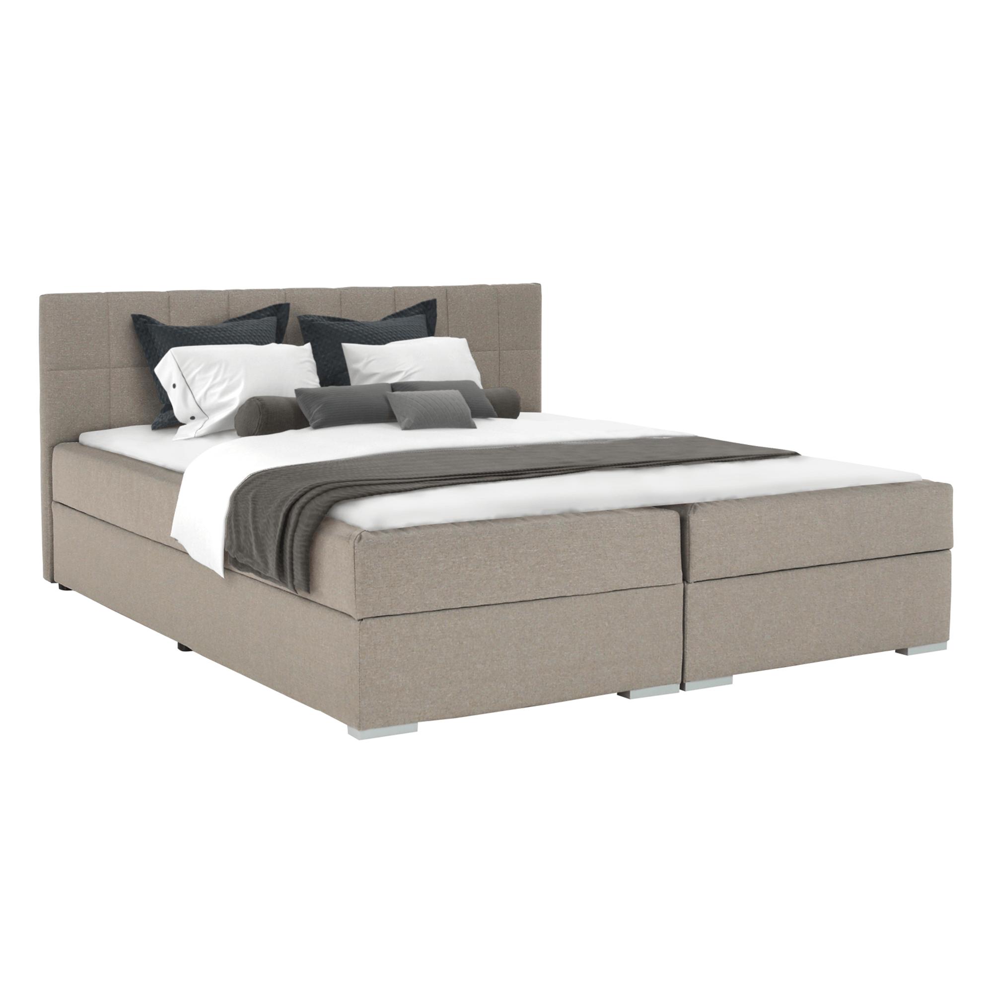 Boxspring típusú ágy 180x200, szürkésbarna taupe, FERATA TV KOMFORT
